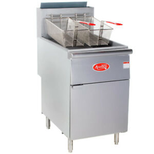 70 100 Lb Natural Gas Commercial Restaurant Stainless Steel Floor Deep Fryer