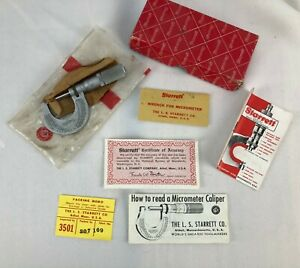 Vintage Starrett Micrometer 1 Inch Manual Original Box Tool Wrench