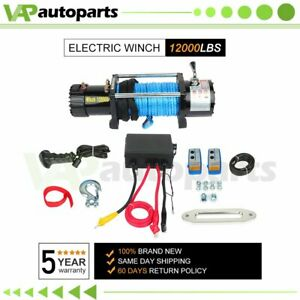 12000lbs 12v Truck Trailer Electric Winch Atv Utv Synthetic Cable W Remote