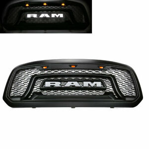 Grille Fit 2013 2018 Dodge Ram 1500 Rebel Style Grill Hood White Led Light A