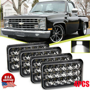 4 X6 H4 Black Led Headlight Sealed Hi Lo Beam For Chevy Pickup Truck 81 87 Ford
