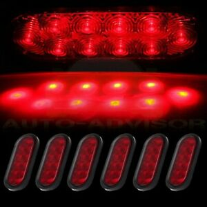 6x 6 Oval Red 10led Reverse Backup Trailer Truck Tail Light High Low Brightness