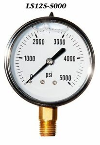 New Hydraulic Liquid Filled Pressure Gauge 0 5000 Psi 2 5 Face 1 4 Lm