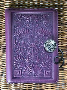 Oberon Design Vintage Orchid Leather Small Journal thistle