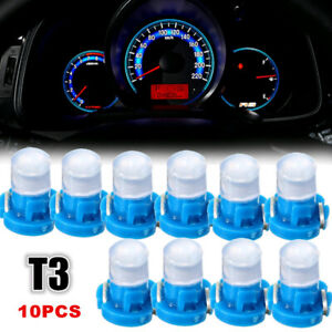 10pcs Blue T3 Neo Wedge Led Instrument Cluster Dash Panel Climate Light Bulbs