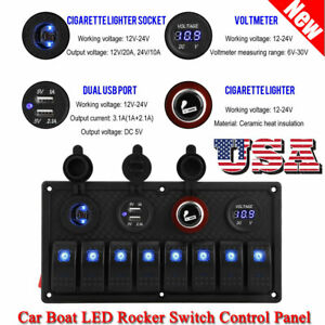 8 Gang Blue Rocker Switchs Panel Circuit Breaker Led Waterproof Car Marine Boat