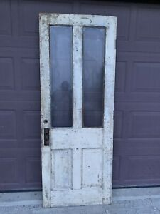 Antique Vintage Victorian Wood Wooden Door 2 Window Glass