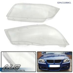 2pcs Left Right Headlight Lens Cover Clear For 2005 2008 Bmw 3 Series E90 E91