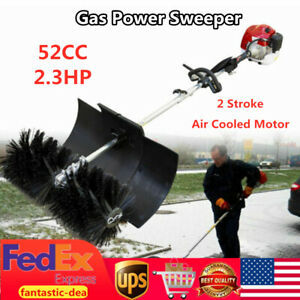 52cc Gas Power Sweeper Hand Held Broom Sweeper Walkway Lawns Cleaning 2 3hp Usa