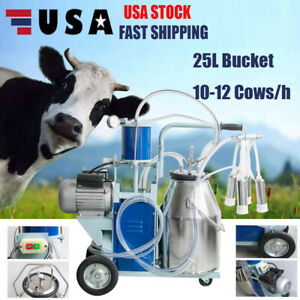 Electric Milking Machine Milker Goat Cows 25l Bucket Stainless 550w 12cows hour