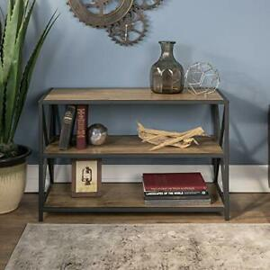 2 Open Shelves Industrial Wood Metal Bookcase Tall Bookshelf Home Office Storage