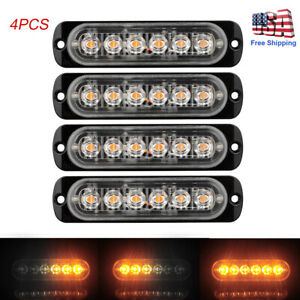 4pc Amber Led Car Truck Emergency Beacon Warning Flash Signal Strobe Light Bar
