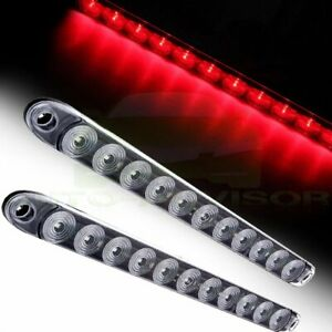 2 15 Clear Red 11 Led Trailer Truck Rv Stop Tail Rear Brake Light Bar Sealed