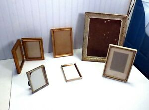 Lot 6 Vintage Gold Metal Easel Table Top Picture Photo Frames 1 Lawrence Double