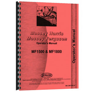 Operators Manual Fits Massey Ferguson 1500 1800 Models 18 78655 18 78655 a Mh