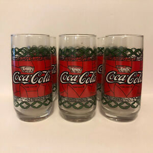 Vintage Coca Cola Glass Stained Glass Style Set of 6
