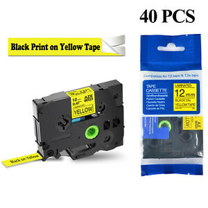 40pk Black On Yellow Tze631 Tz631 Label Tape For Brother P touch Pt 18r 0 47