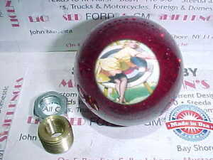 1950 s Pin Up Girl With Arrow Target 2 Custom Shift Knob red Glitter