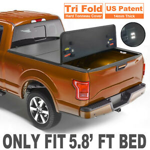 3 Fold 5 8 Feet Bed Hard Tonneau Cover For 09 19 Ram 1500 Truck On Top W Lamp