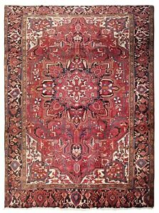Hand Knotted Heriz Tribal Wool Red Navy Carpet Oriental Rug 7 10 X 10 8