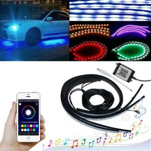 App Control Led Strip Under Car Tube Underglow Underbody System Neon Lights Kits