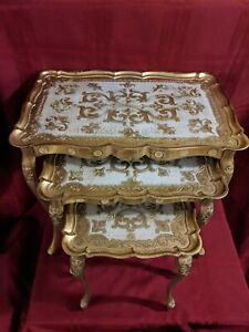 Vintage Gold Italian Florentine Nesting Tables Set Of 3 Made In Italy