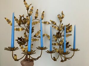 Vintage Italy Gold Gilt Metal Tole Wall Sconce Candle Holder Pair Regency 21