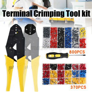 Electrical Crimper Plier Kit Wire Terminal Crimping Connector Tool 800 370pcs