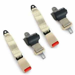2x Safety Belt 2 Point Harness Buckle Clip Retractable Seatbelt Beige Universal