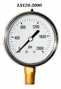 New Hydraulic Liquid Filled Pressure Gauge 0 2000 Psi 2 5 Face 1 4 Lm