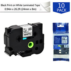 10pk Tz 251 Black On White Label Tape For Brother P touch Pt d600 0 94 Tze 251