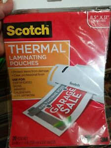Scotch Thermal Full sheet Laminating Pouches 20 count 8 1 2 X 11 20 count