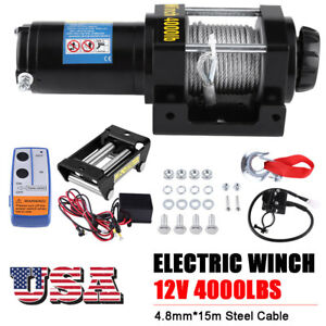4000lbs 1818kg 12v Electric Winch Towing Truck Trailer Steel Cable Off Road Us