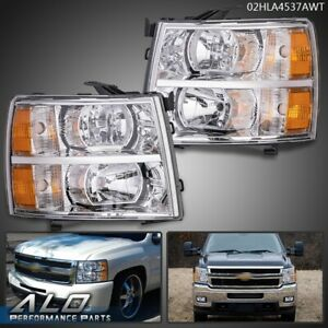 For 07 13 Chevy Silverado 1500 2500 3500 Amber Headlights Chrome Replacement
