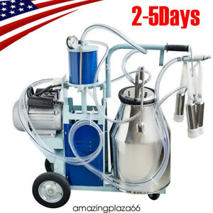 Fda Portable Electric Milking Machine Milker Cows Stainless Steel W 25l Bucket