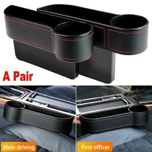 Left Right Car Seat Gap Catcher Organizer Auto Storage Box Pocket Cup Holder