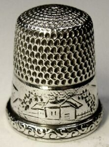 Antique Simons Brothers Sterling Silver Thimble Landscape Scene C1880s