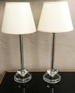 2 Clear Cut Glass Crystal Art Deco Modernist Boudoir Vanity Bedroom Table Lamps