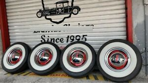 For 15 Tire 3 Wide White Side Wall Tire Wall Trim Set Of4 Hot Rod Custom Car
