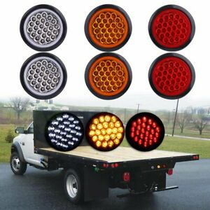 6x 4 Round 24 Led Tail Light Reverse Backup Lamp White Amber Red For Truck