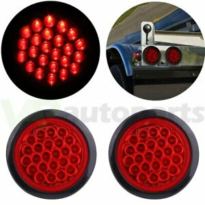 2x 4 Inch Round 24 led Tail Light Reverse Backup Lamp Red For Truck Trailer