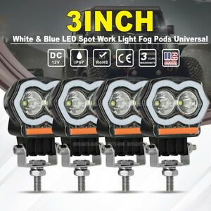 4pcs 3 Inch Halo Led Spot Work Light Bar Pods Fog Driving Off Road Atv Truck 4wd