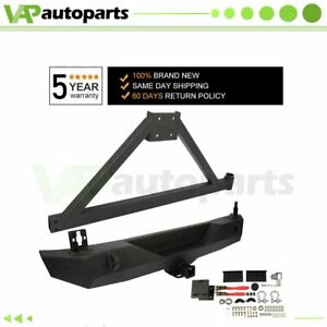 Super Duty Rear Bumper W Tire Carrier D ring For Jeep Wrangler 07 18 Jk