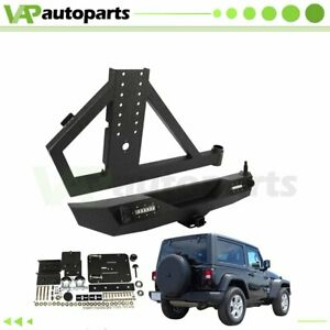 For 07 18 Jeep Wrangler Jk Assembly Steel Rear Bumper Tire Carrier Winch