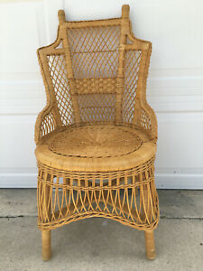 Vintage Mid Century Wicker Rattan Braided Arm Chair