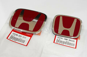 Racing Set Red H Emblem 2pcs Front Rear For 06 15 Honda Civic Sedan Ex Lx Si