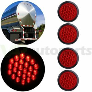 Set 4 4 Inch Round 24 led Tail Light Reverse Backup Lamp Red For Truck Trailer