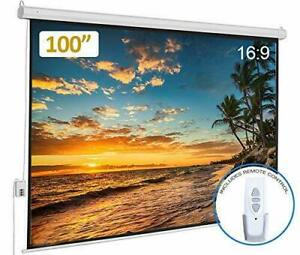 100 Electric Projector Screen 16 9 Hd Matte Motorized Home Theater