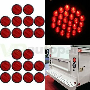 20 4 Inch Round 24 led Tail Light Reverse Backup Lamp Red For Truck Trailer