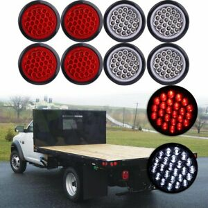 Set 8 4 Inch Round 24 led Tail Light Reverse Backup Lamp Red white For Truck